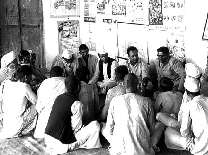 A gram sabha in progress in the 1950s