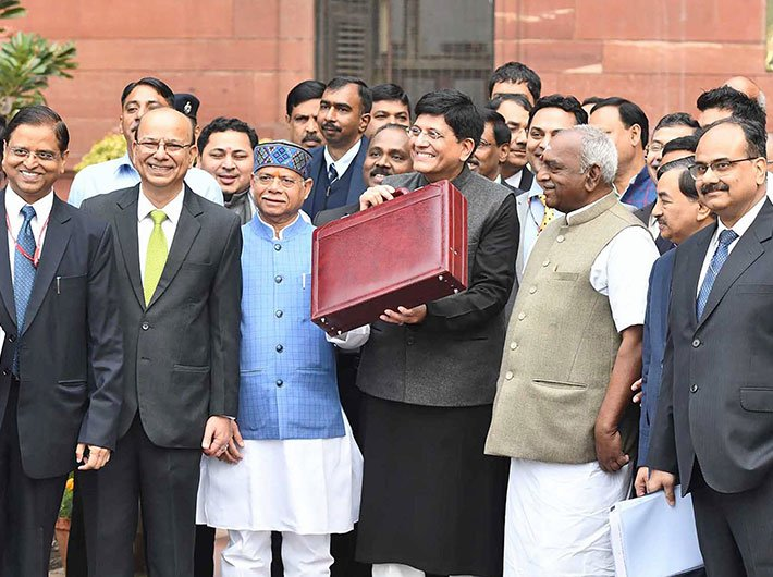 Union minister for railways, coal, finance and corporate affairs, Piyush Goyal on way to present the Interim Budget 2019-20