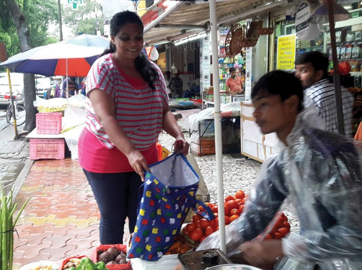 Many people have started bringing cloth bags for vegetable shopping