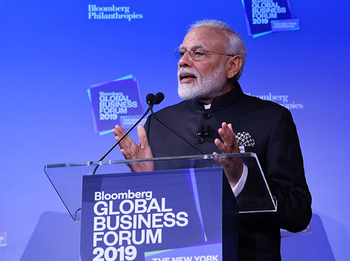 PM Narendra Modi delivers the keynote address at the Bloomberg Global Business Forum in New York on Wednesday