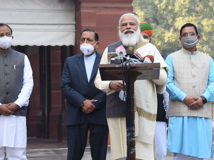 Prime minister Narendra Modi addressing the media ahead of the Budget Session of Parliament