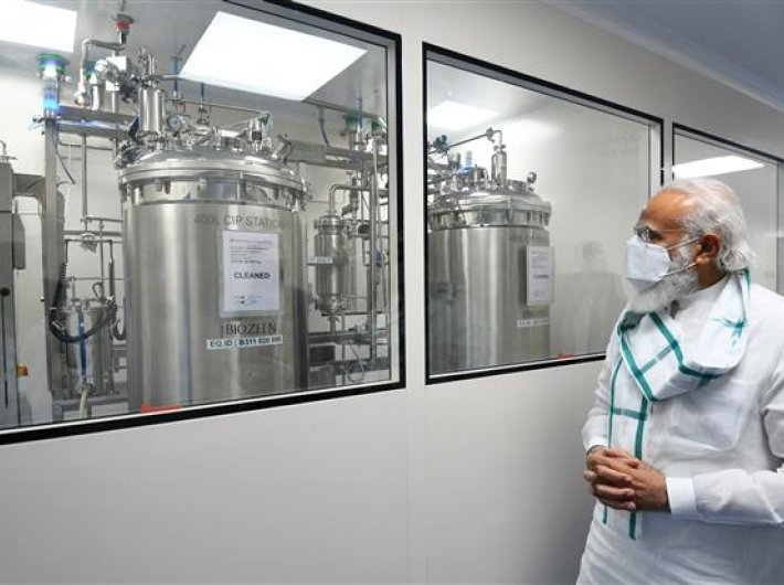 File photo of PM Narendra Modi making a visit of the three vaccine manufacturing sites in November.