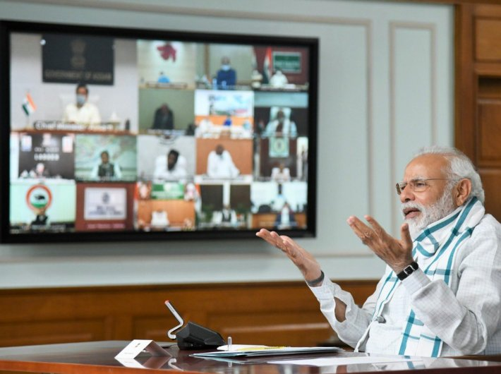PM Narendra Modi talking with the chief ministers during their fourth video conference Monday morning.