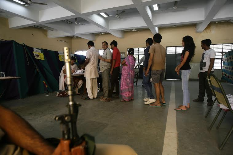 At a polling station in Delhi: polling in the national capital went off peacefully and the security remained non-obtrusive, but all-pervasive.