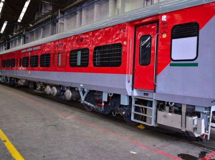 One of the new `post covid coaches` designed at the Kapurthala coach factory.