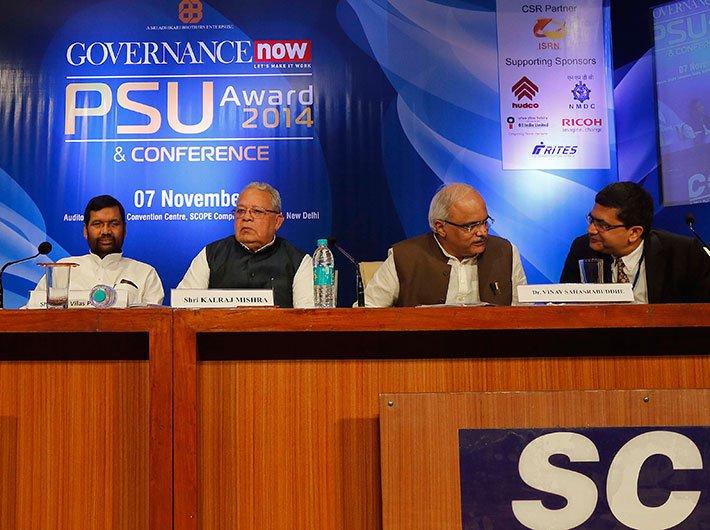 (From left to right) Ram Vilas Paswan, Kalraj Mishra, Vinay Sahasrabuddhe and Ashish Kumar Chauhan