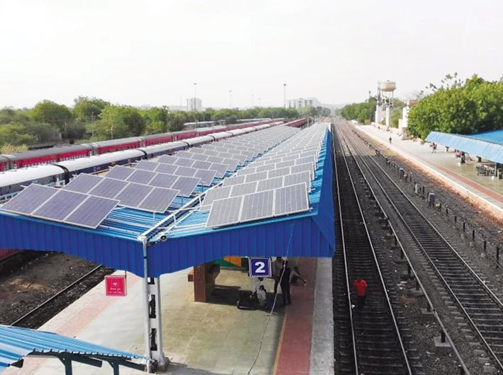 A solar rooftop power plant  installed at a railway station