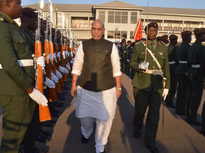 Defence minister Rajnath Singh at the FADM Military Headquarters during his Mozambique visit in July 2019. (Photo courtesy: Twitter @rajnathsingh)