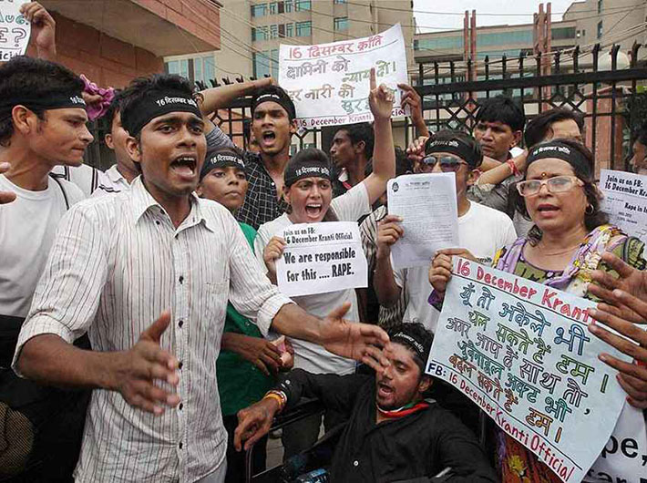 Protestors call for death for the December 16 rapists outside Saket district court, where four of the six were convicted on September 10.