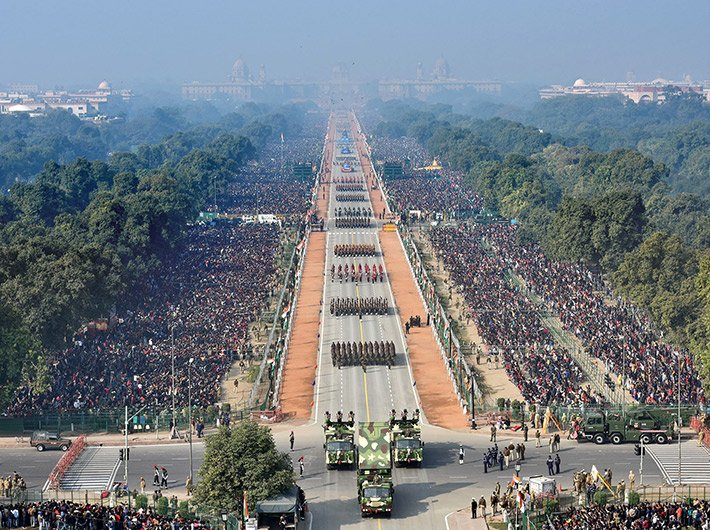An areal view of the Republic Day parade in New Delhi on Sunday.