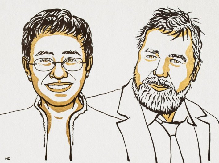 Maria Ressa of the Philippines and Dmitry Muratov of Russia (Image courtesy: nobelprize.org)