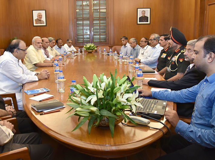 PM Narendra Modi chairing a CCS meeting on the situation on LoC hours after the surgical strikes on September 29