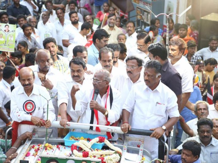 O Panneerselvam and E Madhusudhanan campaigning for RK Nagar constituency