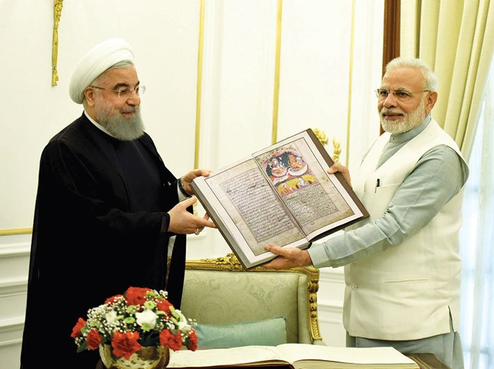 Iran president Hassan Rouhani with prime minister Narendra Modi in New Delhi on February 17, 2018