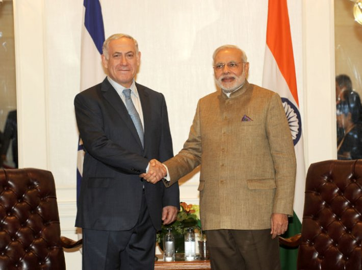 Benjamin Netanyahu, prime minister of Israel, meeting Narendra Modi, in New York in 2014