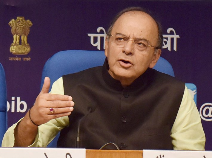 Arun Jaitley, union minister for finance, corporate affairs and defence, addressing a press conference on the achievements of the ministry of finance during 3 years of NDA government