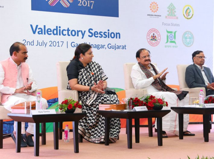 (Left to Right) Minister of state for textiles, Ajay Tamta, union minister for textiles, Smriti Irani, union minister for urban development, housing & urban poverty alleviation and information & broadcasting, M Venkaiah Naidu, and vice chairman, NITI Aayog, Arvind Panagariya at the valedictory session of Textiles India 2017, in Gandhinagar, Gujarat on July 02, 2017