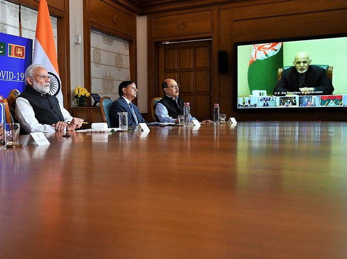 PM Modi participating in the video conference of the SAARC leaders on COVID-19 on Sunday