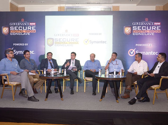(L-R) Rudra Murthy KG, chief information security officer - Digital India, ministry of home affairs; Vijay Devnath, general manager (infra & security) & CISO, CRIS; Alok Vijayant, director (cyber security), NTRO; Vikas Agarwal, executive director, Ernst & Young; Sanjiv Mittal, CEO, NiSG; Loknath Behera, director general, Fire and Rescure Department, government of Kerala; Ravi Vijayvargiya, DDG (network security), NIC; Atul Anchan, systems engineer - manager, India, Symantec