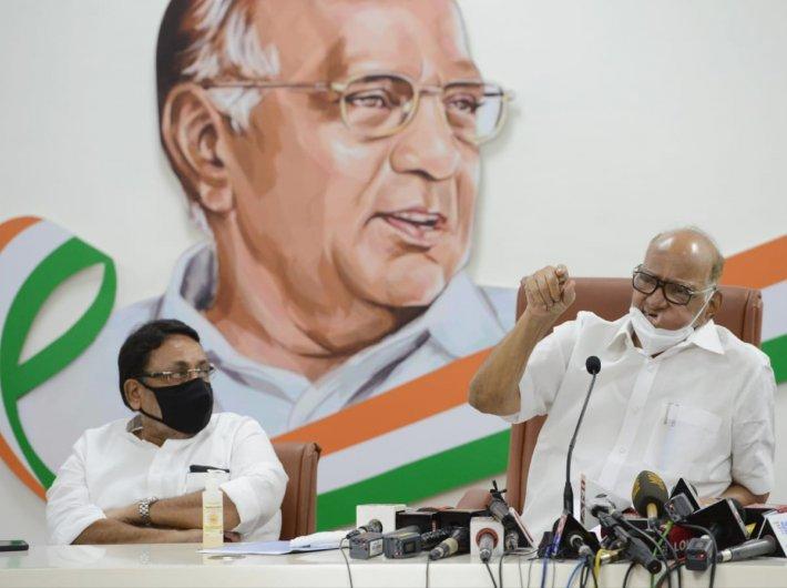 Pawar addressing the press meet in Mumbai on Monday. (Photo courtesy: NCP)
