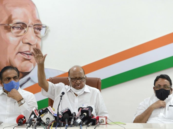 NCP chief Sharad Pawar addressing a press conference in Mumbai on Wednesday