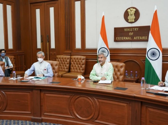 External affairs minister S Jaishankar and ministry officials during an online meet this month (file photo)