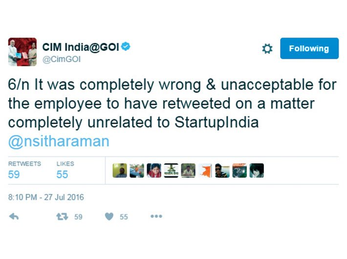 Clarification issued by commerce minister Nirmala Sitharaman after the official account of Start-up India retweeted two questionable posts