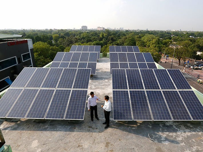 Solar panels on the roof of the National Productivity Council (NPC) building in Delhi (File photo: GN)