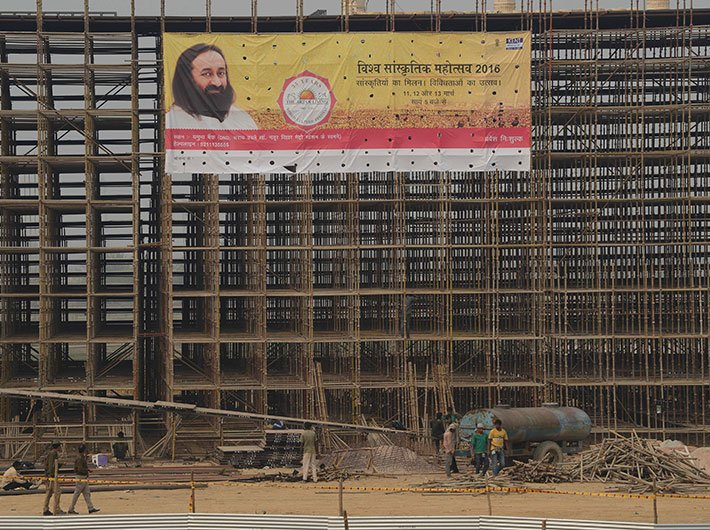 Construction work in progress at the Yamuna bank.