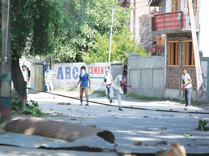 Stone-pelting in Kashmir. AFSPA came up for special mention during the human rights review (Photo: Arun Kumar)