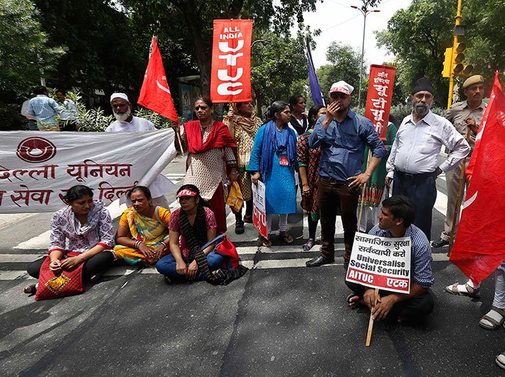 Workers on protest in Delhi