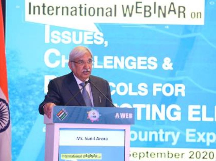 Ibdia`s chief election commissioner Sunil Arora addressing the internation webinar on Monday