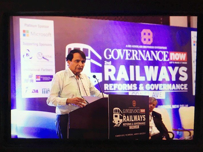 Railway minister Suresh Prabhu at the Railways Reforms and Governance Conclave
