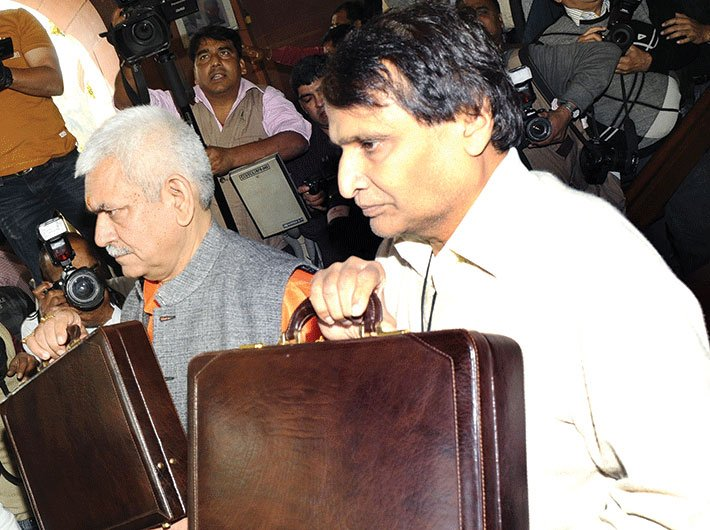 Railway minister Suresh Prabhu and MoS Manoj Sinha with the railway budget, 2016