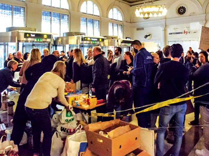 Refugees from Syria at Stockholm Central Station by train through Denmark and Malmo in September 2015.