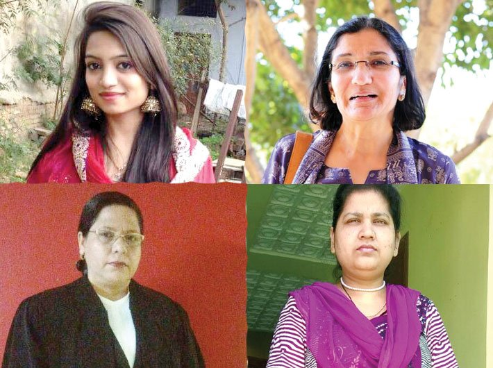 (Clockwise) Afreen Rahman, Zakia Soman, Shayara Bano and advocate Farah Faiz. Afreen and Shayara received divorce by Speed Post.