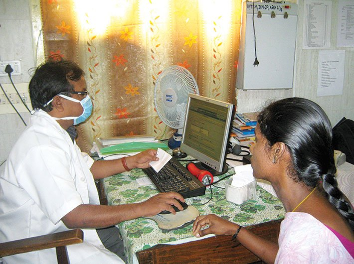 Dr Jayarman at Tambaram government hospital source Suganthi, a patient's medical history, medicines prescribed and treatment recommended at the click of a mouse.