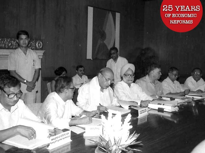 Prime minister PV Narasimha Rao  presiding over the planning commission meeting in 1991