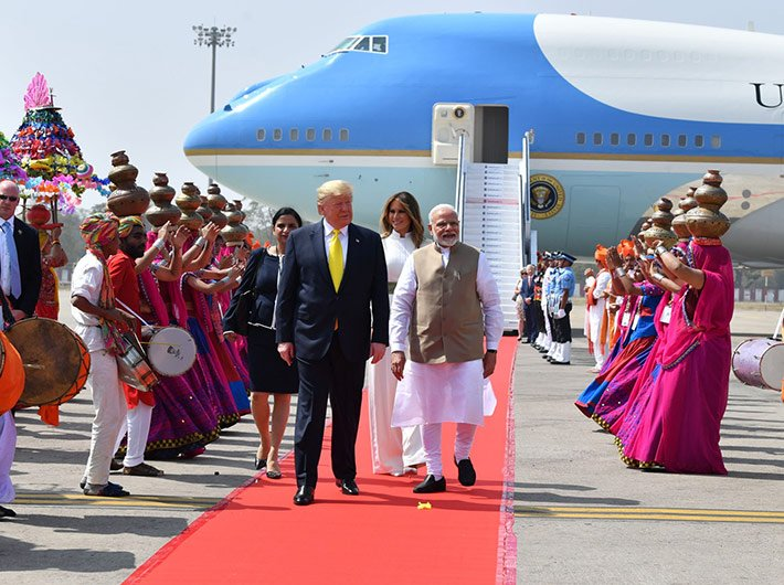 President Donald Trump and first lady Melania Trump began their India visit from Ahmedabad Monday, where they were welcomed by prime minister Narendra Modi.