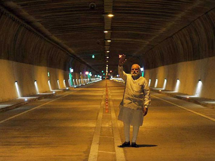 Prime minister Narendra Modi visiting after inaugurating the Chenani-Nashri Tunnel, in Jammu and Kashmir