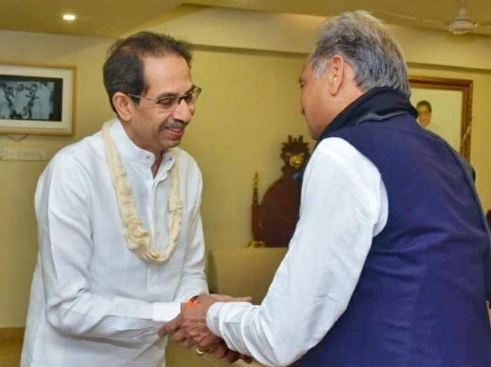 Maharashtra chief minister Uddhav Thackeray with his rajasthan counterpart Ashok Gehlot earlier this month (Photo courtesy @OfficeofUddhavThackeray)