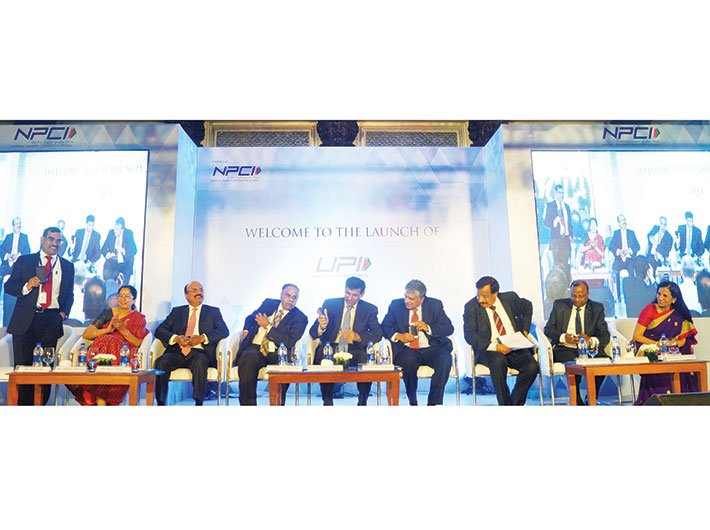 Raghuram Rajan with various banks members at the launch of UPI in Mumbai