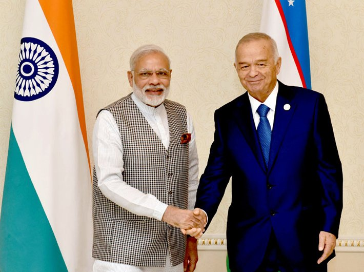 Prime minister Narendra Modi in a bilateral meeting with the president of the Republic of Uzbekistan, Islam Karimov, in Tashkent, Uzbekistan on June 23, 2016.