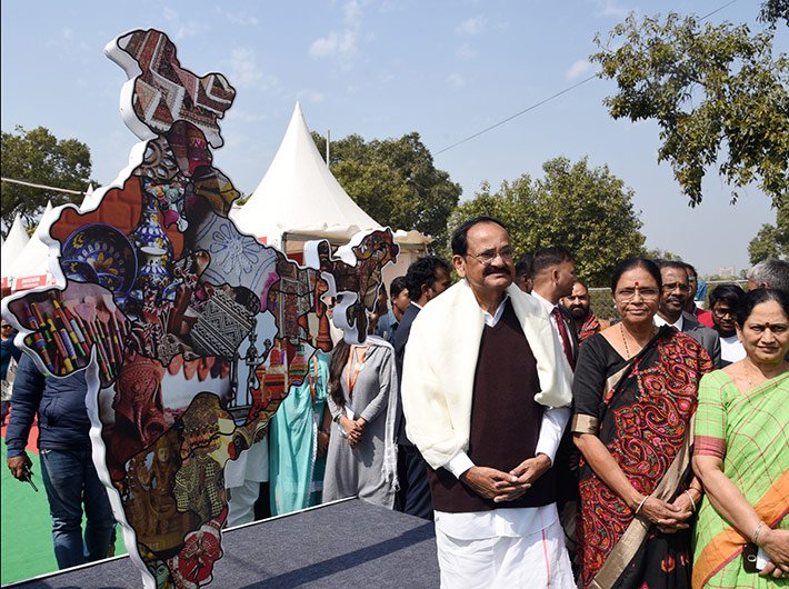 Vice President M Venkaiah Naidu at Hunar Haat in New Delhi on Thursday.