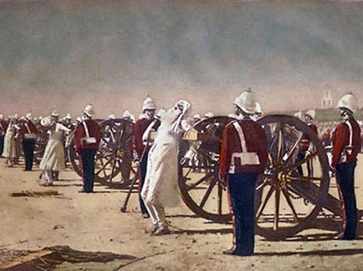 Maulvi Md. Ali Baqar was executed by the British in the first recorded ultimate persecution of a journalist in India. He is believed to have been blown off by canon – as later represented in a famous painting of Russian artist, Vasily Vereshchagin in 1878. (Image courtesy: Creative Commons)