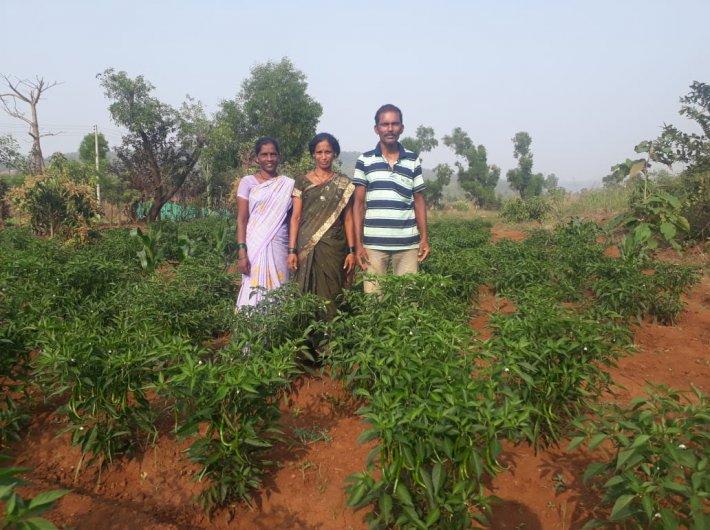 Vishnu Jayaram Ghadse with family on his field (Photo courtesy: Swades Foundation)