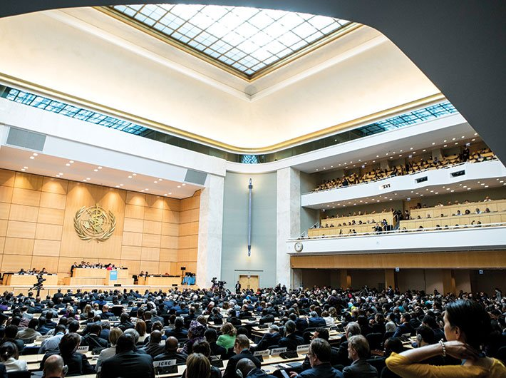The delegates of the 70th World Health Assembly at the assembly hall, Palais des  Nations, in Geneva, on May 22 (Photo: WHO/L Cipriani)