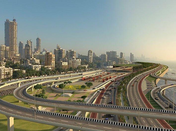 An artist`s visualisation of the Worli interchange on the coastal road (Image courtesy: BMC)