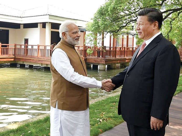 Modi with Xi during their informal meeting in Wuhan