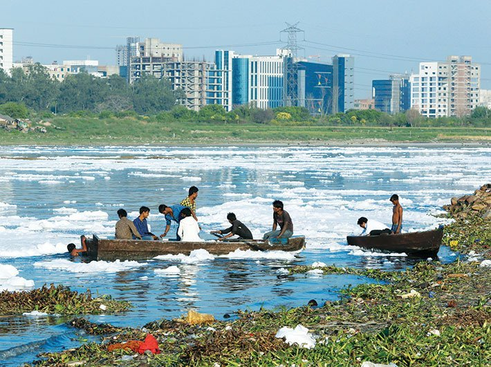 Polluted stretch of Yamuna river in Delhi